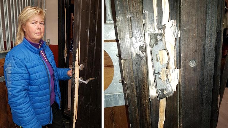 Ing-Marie Persson i sitt stall i Älvkarleby kommun där det var inbrott.