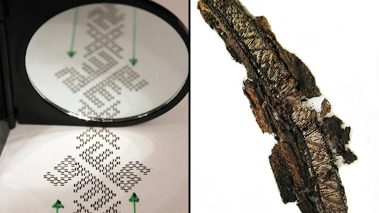 Spegelvänt framträder Allah i vikingatida bandmönster från Birka, enligt forskaren Annika Larsson.