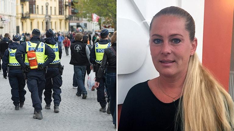 Poliser i Uppsala under valborgsfirandet och nattvandraren Hilde Wiberg