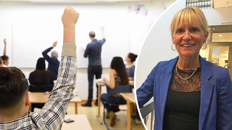 Skolklass och utbildningsdirektör Birgitta Pettersson i Uppsala kommun