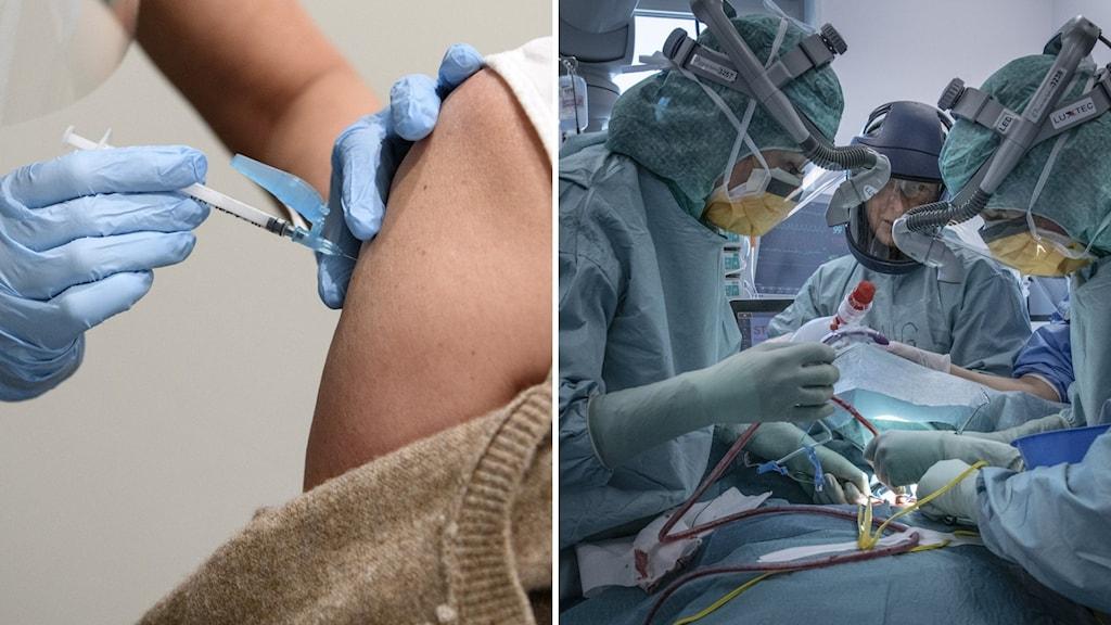 Till vänster en som får vaccinet, till höger en iva-avdelning.
