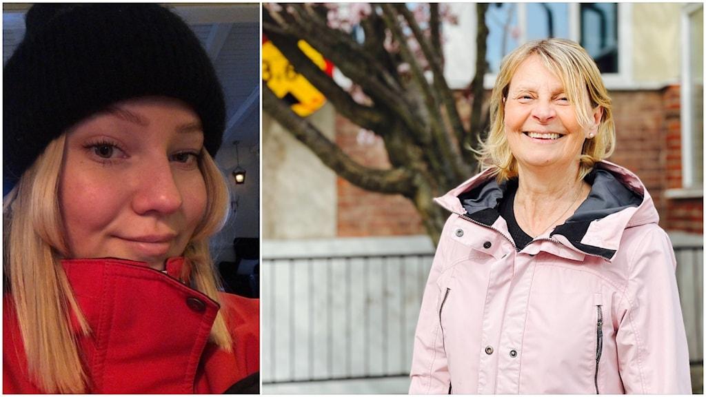 Till höger syns gymnasieeleven Fanny Johnsson i en röd jacka och svart mössa. till höger läraren Eva Hamlin i rosa jacka.