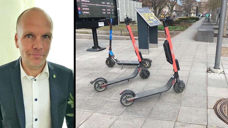 Kommunalråd Rickard Malmström och elsparkcyklar i Uppsala
