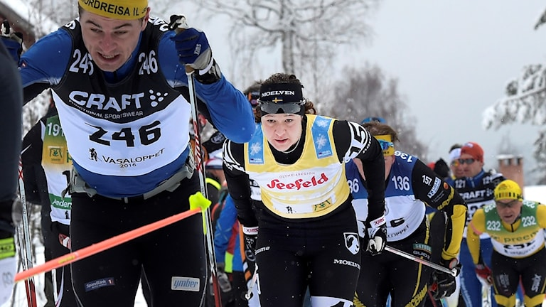Britta Johansson Norgren under Vasaloppet 2016.