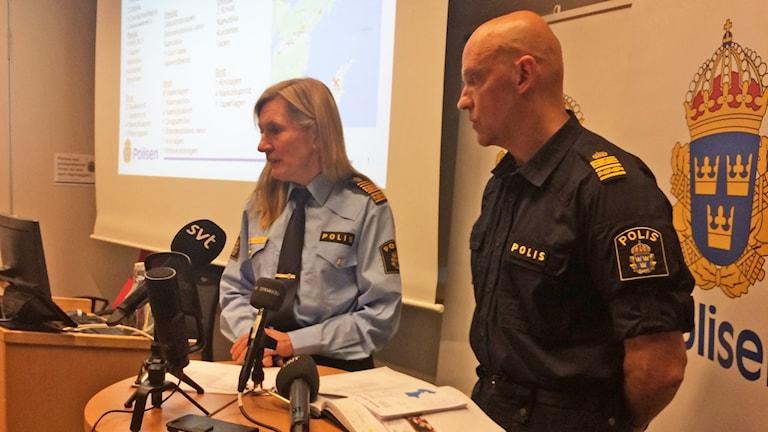 Pressträff om operation Lynx med regionpolischef Carin Götblad och kommenderingschef Jale Poljarevius.
