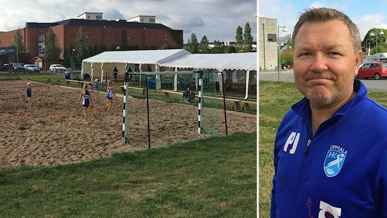 Patrik Johansson, t h. Cupgeneral för beachhandboll