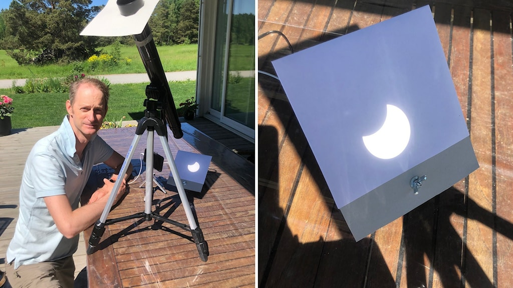 Eric Stempels sitter vid ett bord, på bordet står ett stativ som riktar solljuset så han ser solförmörkelsen på bordet.