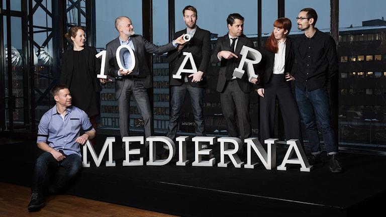 Medierna 10 år Fredrik Nilsson, Therese Rosenvinge, Lars Truedson, Johan Cedersjö, Martin Wicklin,  Erik Petersson, Jonna Westin P1 Sveriges Radio