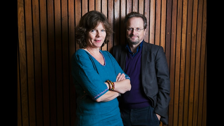 Vetenskapsradions Nobelsändning 2012. Kreativa grupper och genialiska individer. Lena Nordlund och Karsten Thurfjell. Sveriges Radio P1. foto: Mattias Ahlm/Sveriges Radio