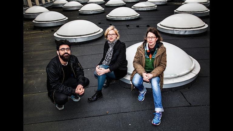 Kino. Saman Bakhtiari, Jenny Aschenbrenner och Nina Asarnoj. Foto: Martina Holmberg/Sveriges Radio.