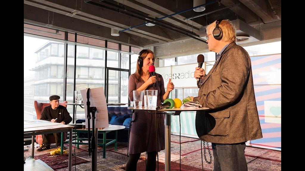 Sändning Nordegren & Epstein i P1, med gäster. Sveriges Radio på Kulturhuset plan 4. foto: Mattias Ahlm/Sveriges Radio