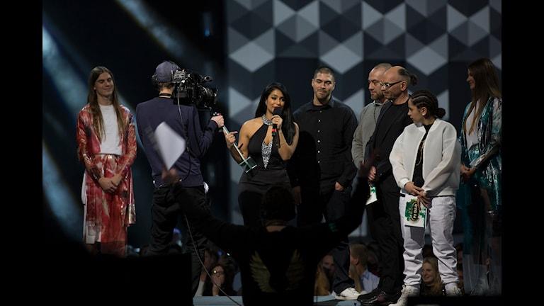 Linda Pira vinner priset Årets hiphop/soul på P3 Guld 2015 Foto: Mattias Ahlm/Sveriges Radio