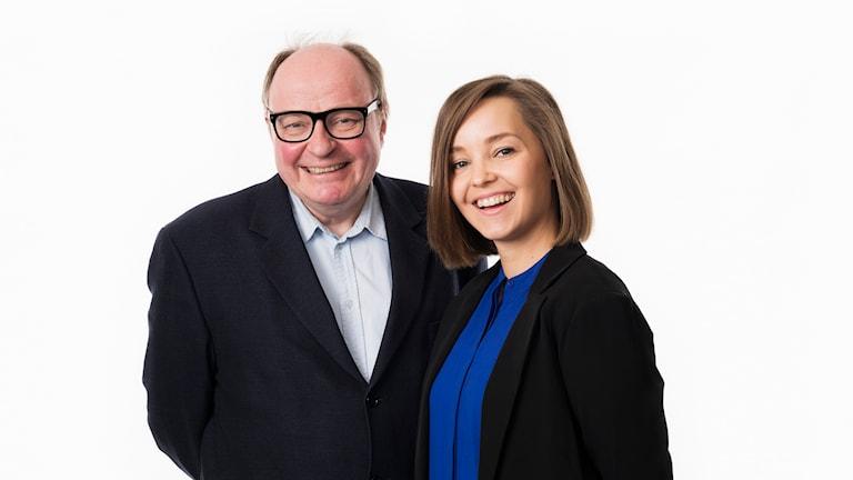 Talkshow. Jorma Ikäheimo och Helena Huhta. Sisuradio. Sveriges Radio. foto: Mattias Ahlm/Sveriges Radio