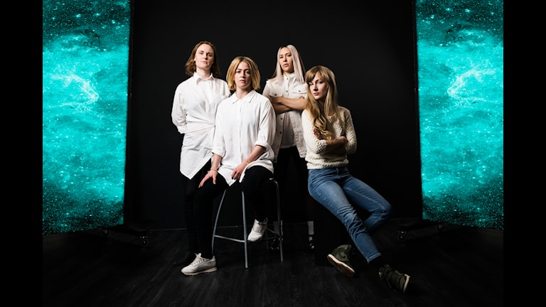 Girlnet. Helena Sandström, Karin Bengtsson, Isabel Cruz Liljegren, Maia Hansson Bergqvist. Radioteatern Sveriges Radio. RTEA. foto: Mattias Ahlm/Sveriges Radio