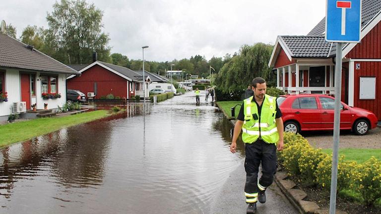 Vetenskapsradion Klotet. Oskarström drabbat av översvämning. P1 Sveriges Radio. Foto: Henrik Martinell/Sveriges Radio