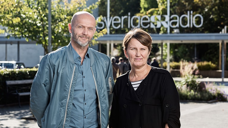 Studio Ett. Lasse Johansson och Monica Saarinen. P1 Sveriges Radio. foto: Mattias Ahlm/Sveriges Radio
