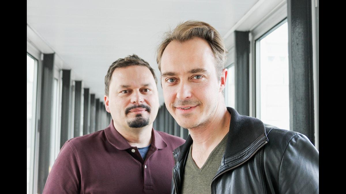 Teaterprogrammet. Roger Wilson och Jonas Karlsson. P1 Sveriges Radio. foto: Anna-Karin Ivarsson/Sveriges Radio