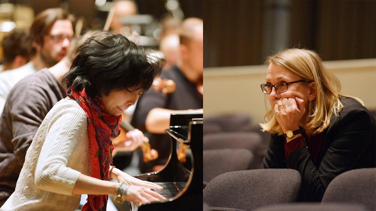 Katarina Leyman som lyssnar på pianisten Claire Huangci under genrepet i Umeå Foto: Kjell Oscarsson/Sveriges Radio