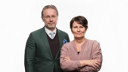 Ekots utfrågare partiledarna i valrörelsen 2018 Daniel Alling och Monica Saarinen Ekot Sveriges Radio