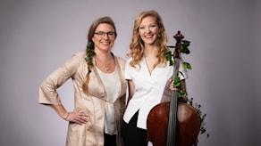 Pernilla Eskilsdotter, Amalie Stalheim och Amalies cello som är hela 330 år gammal, byggd 1687 i Italien. Foto: Mattias Ahlm/Sveriges Radio