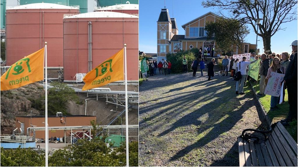 Demonstranter i Lysekil visar sitt missnöje kring Preems eventuella utbyggnad.