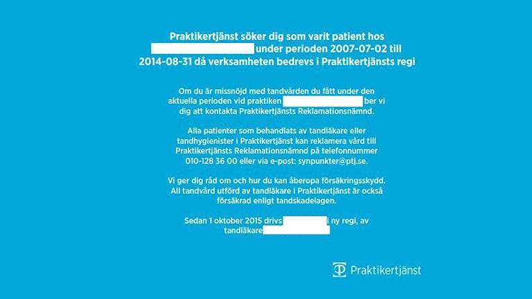En annons som infördes i lokaltidningen i samband med tandvårdsskandalen i Dalsland.