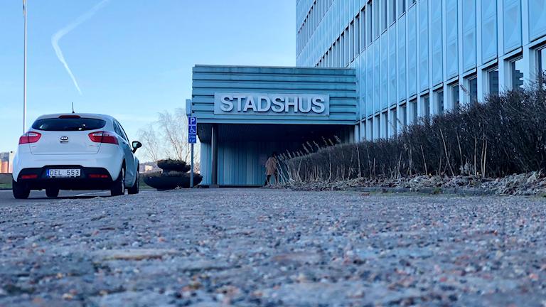 Stadshuset i Uddevalla i sitt blåa utförande.