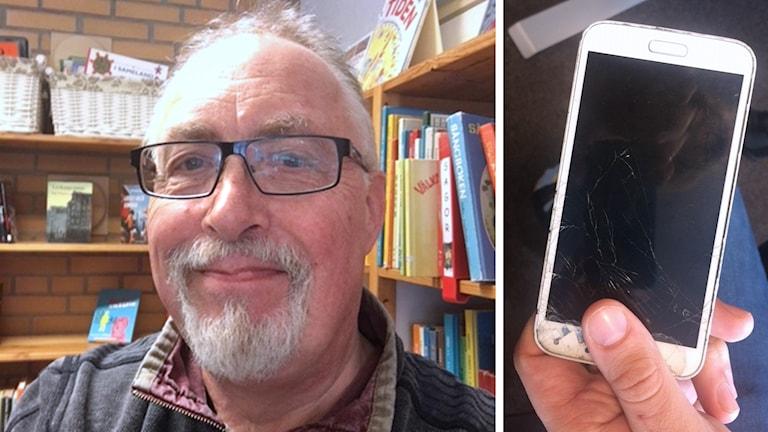 En bild på veckans telefonkorre Dave Lord och en bild på mobiltelefonen som skickas runt i området.