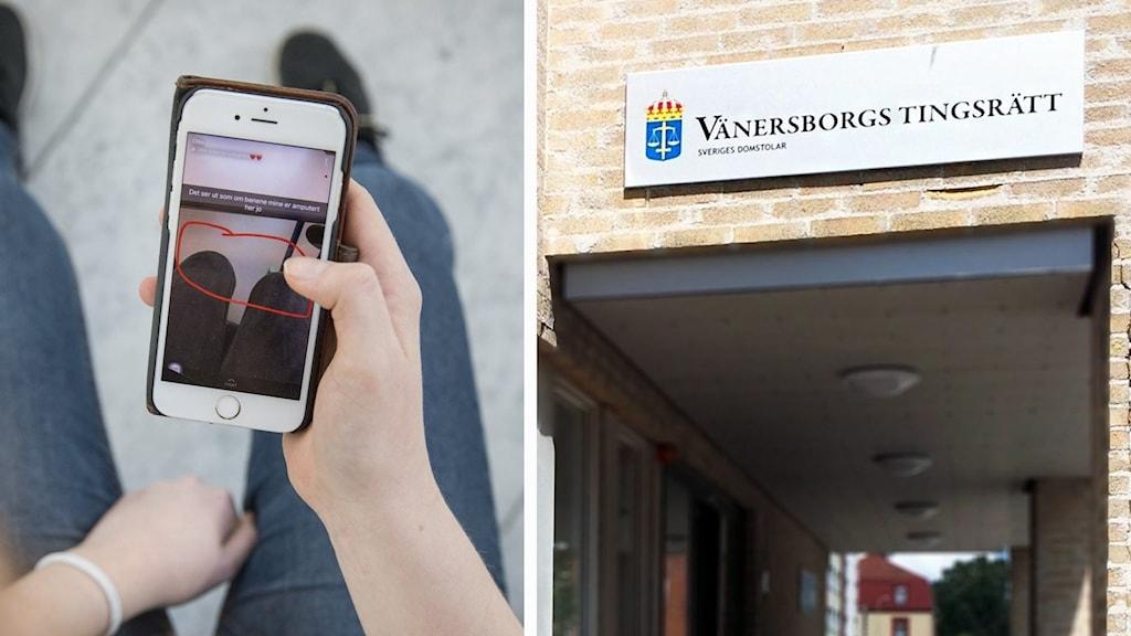 Collage: en flicka tar kort på sina fötter och ben och Vänersborgs tingsrätt.