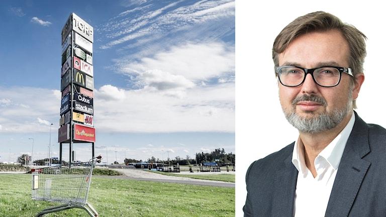 Fotomontage som visar skyltar på Torp köpcentrum och Per Andersson på HUI