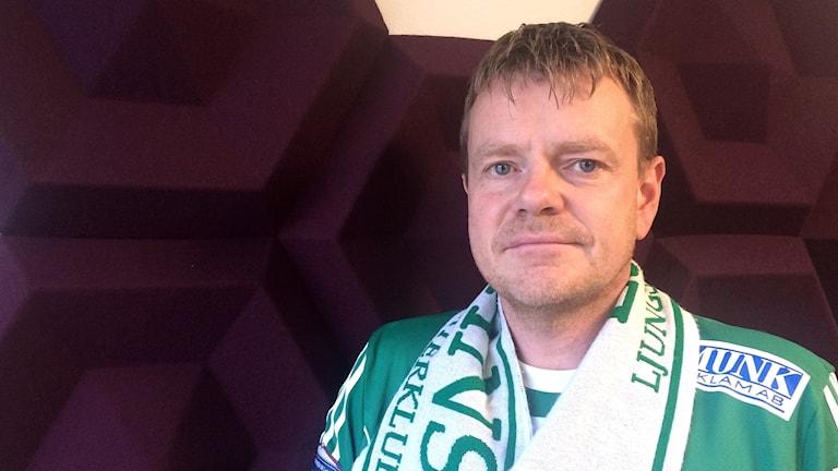 Lars Olsson LSK-supporter. Foto: Julia Forsberg/Sveriges Radio