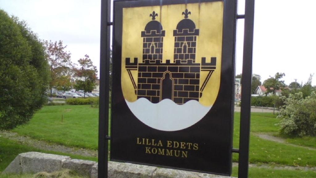 Skylt på Lilla Edets kommun. Foto: Marie Hedlund/SR Väst