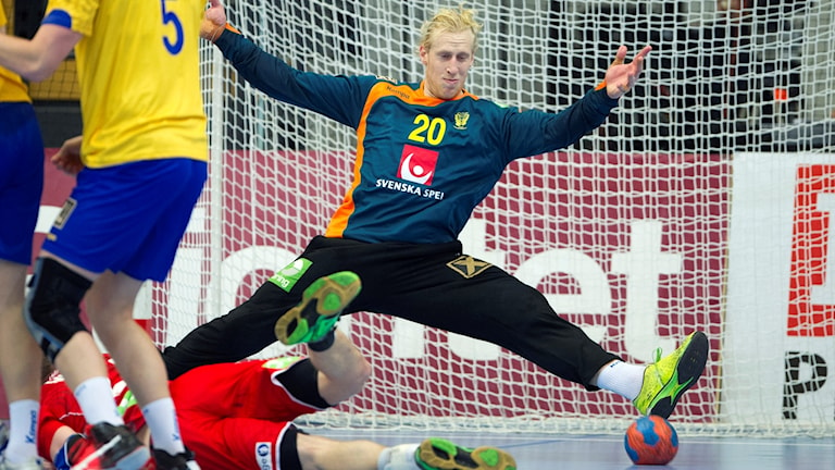 Sveriges målvakt Mikael Appelgren under lördagens träningslandskamp i handboll mellan Sverige och Norge i Arenan i Kristianstad.