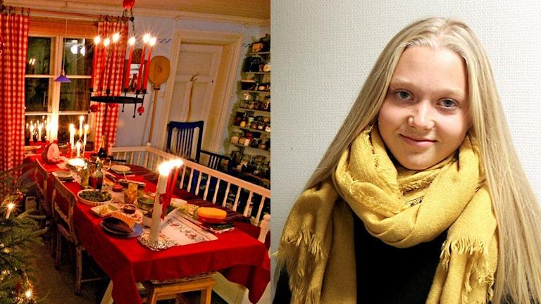 Till vänster ett julpyntat bord och till höger bild på Felicia Grundevik
