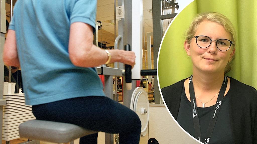 Person i en träningsmaskin samt en porträttbild på en kvinna