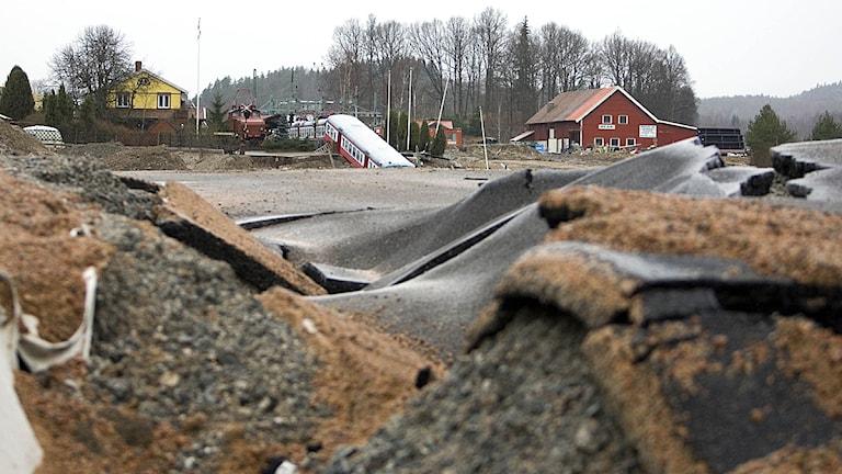 Vägraset vid Småröd på E6 2006. Foto: Adam Ihse/Scanpix.