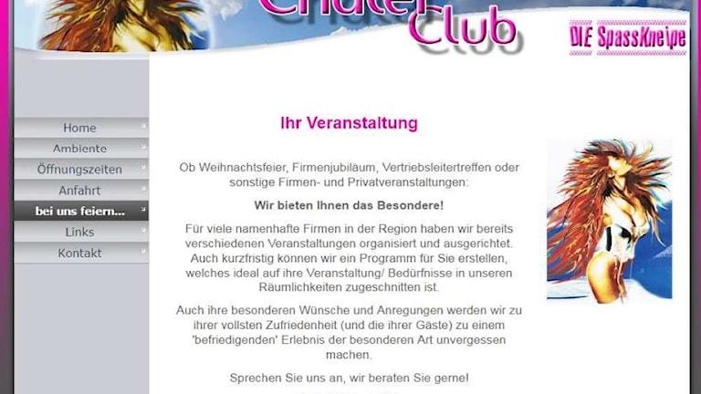 Bild, från polisens förundersökning, på en bordells hemsida i Tyskland.