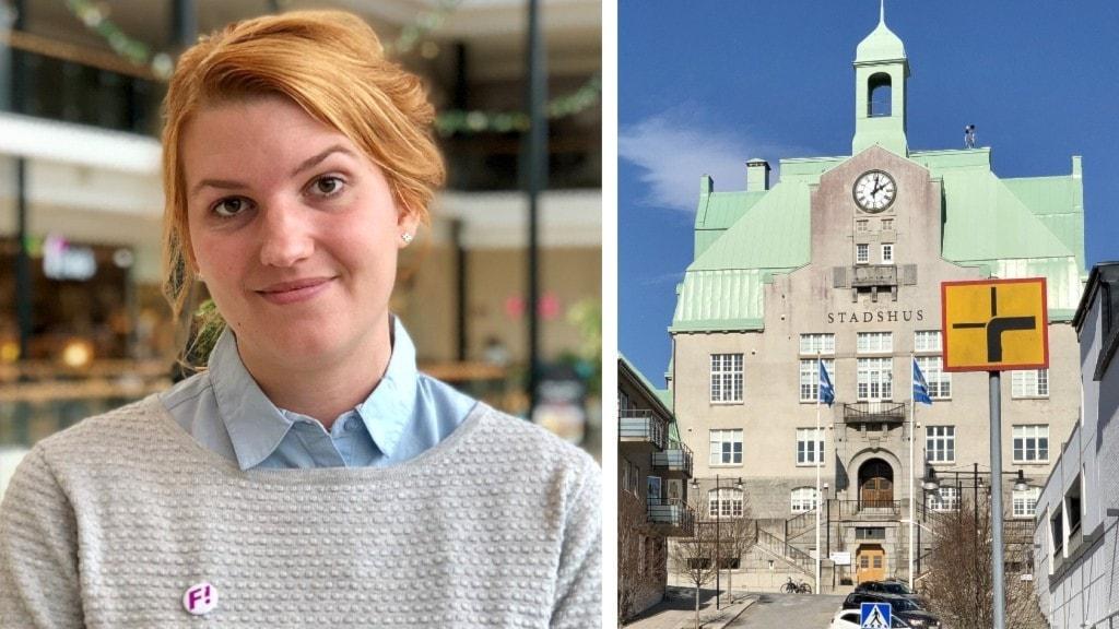 På bild syns Strömstads anrika stadshus. Även Marielle Alvdal, som är gruppledare för FI i Strömstad. Hon har på sig en grå tröja, ljusblå skjuta tittar fram, och uppsatt hår. På tröjan tittar även en FI-badge fram.