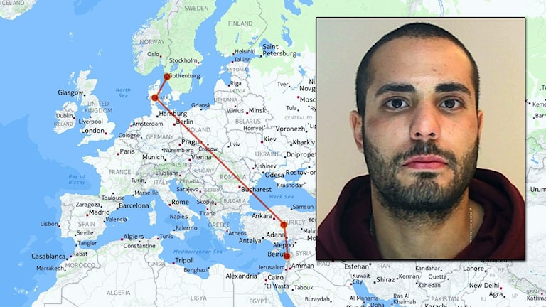 Inklippt bild på Martin Saliba över en karta som beskriver hans flyktväg från Sverige till Libanon. Foto: P4 Väst /Scanpix/TT