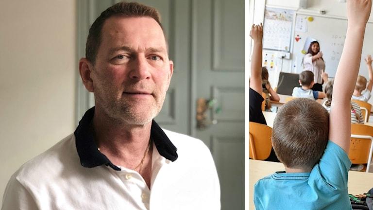 Grundskolechefen Peter Madsen står i rådhuset i Uddevalla. En fin, grönljus dörr tecknar sig i bakgrunden. Han har på sig en vit skjorta med svart krage. Lite släggväxt, brunt hår och blåa ögon. Medelålders man.
