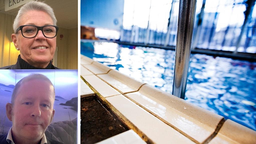 Lena Thorén och Peter Karlsson inklippta bilder bredvid en simbassäng.