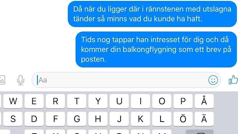 Skärmdump av meddelanden med samma text som mannen misstänks ha skickat till kvinnan.