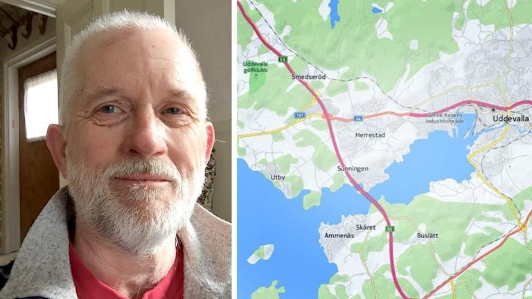 Telefonkorren Sven-Åke Stark bredvid en karta över Östra Uddevalla och Herrestad där han bor.