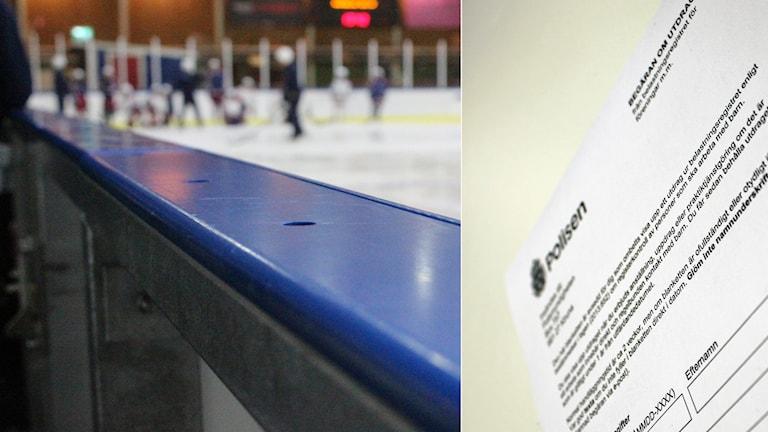 Montage av hockey-rink och ett belastningsregister från polisen