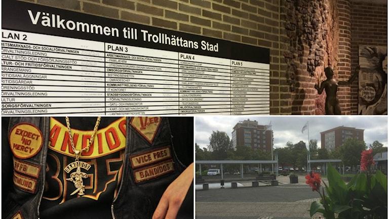 Ett kollage på Trollhättans kommun, Kronogårds torg och person med bandidosväst