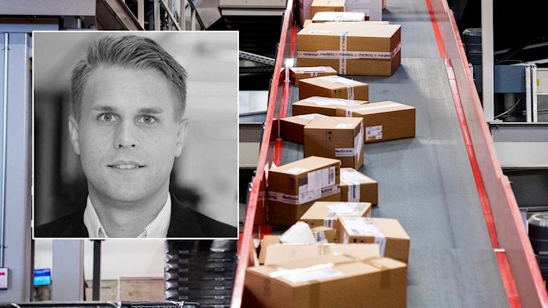 Bild på Andreas Svensson och flera paket på band.