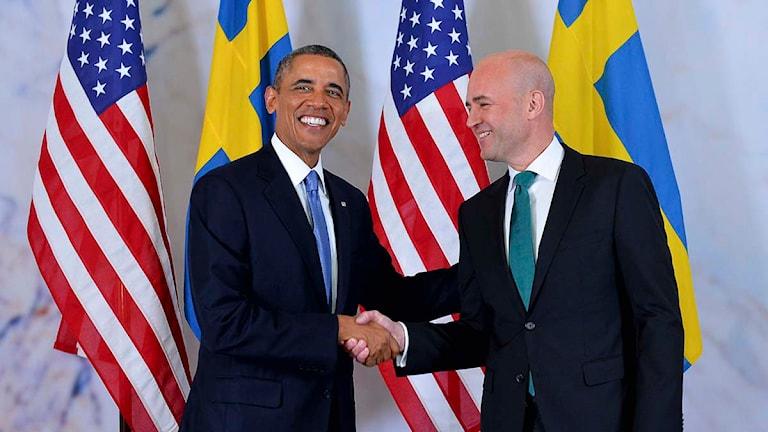 Barack Obama och Fredrik Reinfeldt. Foto Jonas Ekströmer/Scanpix.se