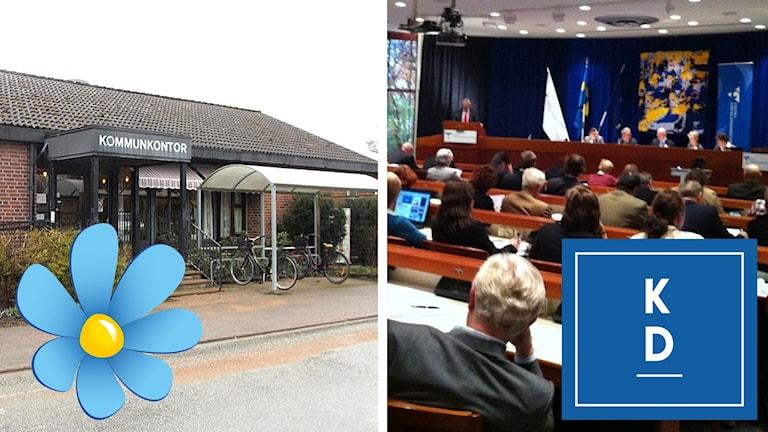 Ett bildmontage som föreställer kommunkontoret i Färgelanda med en SD-logotyp på samt en bild från regionfullmäktige i Västra Götalandsregionen med en KD-logotyp på