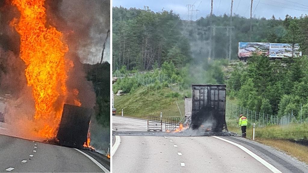 Lastbil i brand på E6