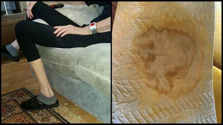 Till vänster en bild på Karin, 83. Till höger en smutsig madrass.